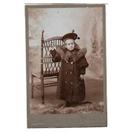 Lovely Vintage CDV Photograph of  A Little Child in Hat and Coat Lewis Rice Studios Nova Scotia Canada