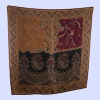 Richly Decorated Designer Signed Liz Claiborne Silk Scarf Wearable ART
