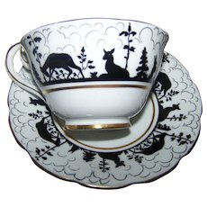Silhouette Forest Animals Bunny Rabbit Deer Tree Cloud Theme Tea Cup Saucer Set Vanderwood England