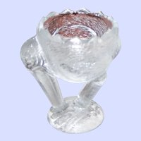 A Collectible Vintage EAPG Pressed Glass  Stork Figural Eggcup Egg Cup