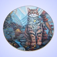 Collector  Tabby Kitty Cat Plate Flew The Coop by Lowell Davis Schmid 1982