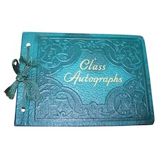 Charming Vintage Class Autograph Book Unused Decorative Embossed Cover