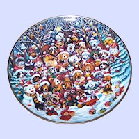 Collector Plate Christmas Puppy Dog Themed by Bill Bell Franklin Mint Santa Paws