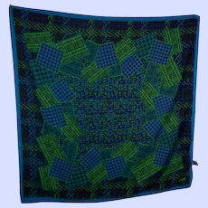 Vintage Designer Signed Leslie Fay Accessories Polyester Print Scarf Made in Italy
