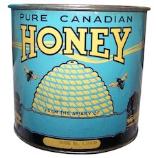 Vintage Tin Litho Advertising Pure Canadian Honey Tin Bee Hive Plow Horse Farming Theme