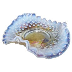 Vintage Pre-Logo Fenton Hobnail Ruffled Glass Bowl Dish