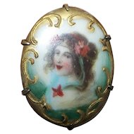 A Miniature Transfer with Hand Painted Accents Porcelain Brass Set Pin Brooch