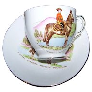 Vintage A Royal Canadian Mounted Police Man Tea Cup Saucer Set Taylor  & Kent England