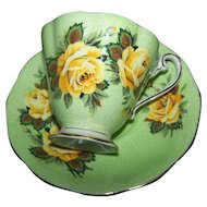 Pretty Green Sponged Yellow Rose Flower Theme Tea Cup Saucer Set  Royal Standard