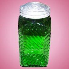 Vintage Dark Green Depression Glass Ribbed  Shaker Owens Hoosier with Original Top