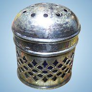 E.P.N.S. And Cobalt Blue Glass Insert Spice Shaker Made In England