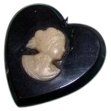 A Small Vintage Black Catalin Heart Plastic Cameo Pendant