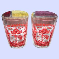 Royalty  1937 Coronation Drinking Glass set of 2  George VI Queen Elizabeth