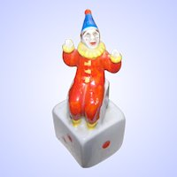 Quirky Novelty Figural  Ceramic Harlequin Clown Sitting on A Dice Made In Japan