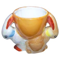 As Is Collectible  Double Bunny  Novelty Figural  Ceramic Rabbit Egg Cup