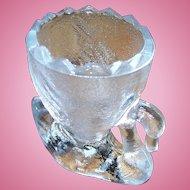 Sweet Lovely Vintage Figural Pressed Glass Swan Eggcup Egg Cup