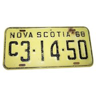 Collectible Vintage Yellow and Black  Metal Metalware Tin NOVA SCOTIA 1968 License Plate C3-14-50