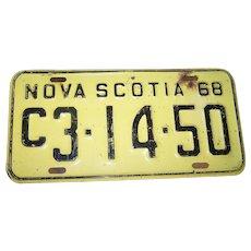 Collectible Vintage Yellow and Black  Metal Metalware Tin NOVA SCOTIA 1968 License Plate C3-14-50