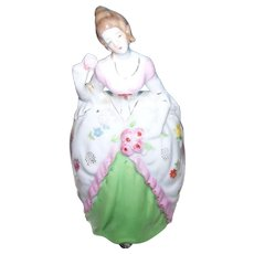 Beautiful Vintage Ceramic Colonial Lady Hand Painted Ceramic Wall Pocket Made in Japan