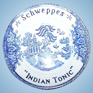 Advertising Tip 4.5 inch  Dish Schweppes Indian Tonic Currency-Faience Luneville France