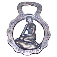 Novelty Souvenir Brass Nude and Floral Beer Bottle Opener KOBENHAVN