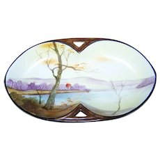 Stunning Collectible Vintage Hand Painted Cabin in the Woods Porcelain Dish Noritake Made in Japan