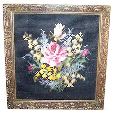 Beautiful Hand Crafted Cross Stitch Needle Point Rose Floral Framed Wall Art