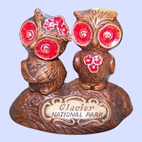 Advertising Ceramic Owl Salt & Pepper Shakers Treasure Craft USA Glacier National Park