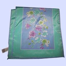 Designer Signed Vera Long Rectangular Polyester Scarf Floral Vine Themed