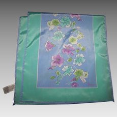 Designer Signed Vera Long Rectangular Polyester Scarf Floral Vine Themed