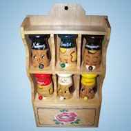 Mid-Century Wooden Shelf with Spice Shakers Salty and Peppy Style Home Decor Accent