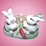 Sweet Vintage Ceramic Bunny Rabbit  Salt & Pepper Shakers on Stand Carrots Fence