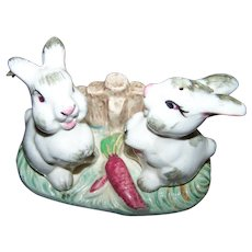 Sweet Vintage Ceramic Bunny Rabbit  Salt & Pepper Shakers on Stand Carrots Fence