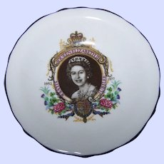Lovely Historical Souvenir Royalty Portrait  Pin Dish Queen Elizabeth II 1952-1977 Royal Grafton Bone China ENGLAND