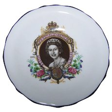 Lovely Historical Souvenir Royalty Portrait  Pin Dish Queen Elizabeth II 1952-1977 Royal Grafton Bone China ENGLAND
