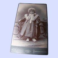 Sweet Vintage CDV B&W Photograph of a Charming Little GIrl in Winter  Coat Bonnet
