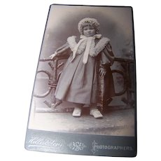 Sweet Vintage CDV B&W Photograph of a Charming Little GIrl in Winter  Coat Bonnet