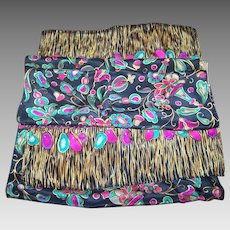 Charming Decorative Long Rectangular Lovely  Quality  Scarf Gemstone Jewels Wild Cats Theme