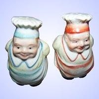 Mini Salt & Pepper  Figural Chef Cook Baker Ceramic Shakers JAPAN