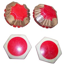 A Lot of 4 Vintage Early  Red Plastic Buttons 2 Bakelite 2 Celluloid Deco Style
