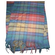 Lovely Quality Gently Used 100 % Cashmere Scottish Tartan Fringed Scarf
