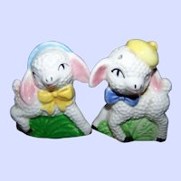 Sweet  Vintage Hand Painted Lamb Mr and Mrs Salt & Pepper Shakers