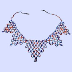 Lovely Colorful Hand Beaded Glass Seed Bead Necklace