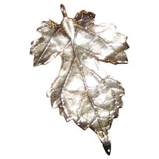 "A Delicate Vintage  ""TRUE LEAF"" Pendant  Gold 24K Plated  Dipped Nature Inspired"