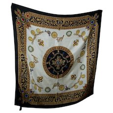 Lovely Large Designer Joan River Fleur De Lis Jewellery Jewelry Themed Ladies Silk Fashion Scarf