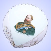 Lovely Shell Fan Shaped Porcelain Royalty Portrait  Pin Dish of KING EDWARD VII