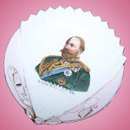 Lovely Shell Fan Shaped Porcelain Royalty Portrait  Pin Dish of KING EDWARD VII