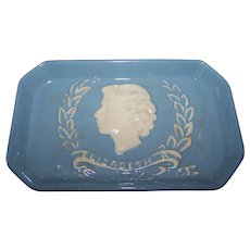 Vintage Souvenir  Coronation  Royalty  Portrait Dish Queen Elizabeth June 1953 Dartmouth Pottery England