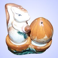 Sweet Ceramic  Salt & Pepper Squirrel Nut on Stand Spice Shaker Set Japan