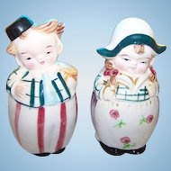 A Charming Figural Set Of Dutch Lady and Man Salt & Pepper Spice Shakers